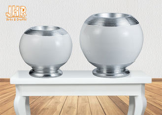 Decorative Modern Footed Fiberglass Flower Pots With Silver Leaf Finish